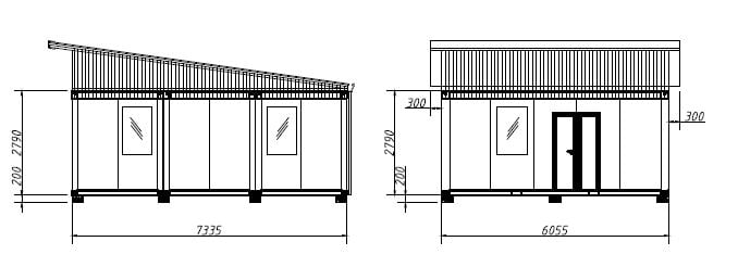 TransPack eco cabins P111C elevation plan