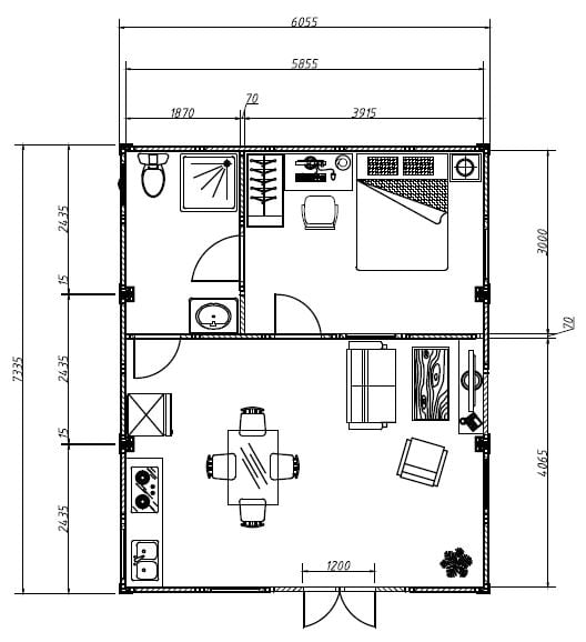 TransPack eco cabins P111F floor plan